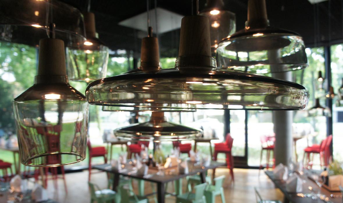 dreizehngrad Pendelleuchte Modell Industrial Referenzen Glasleuchte Designleuchte