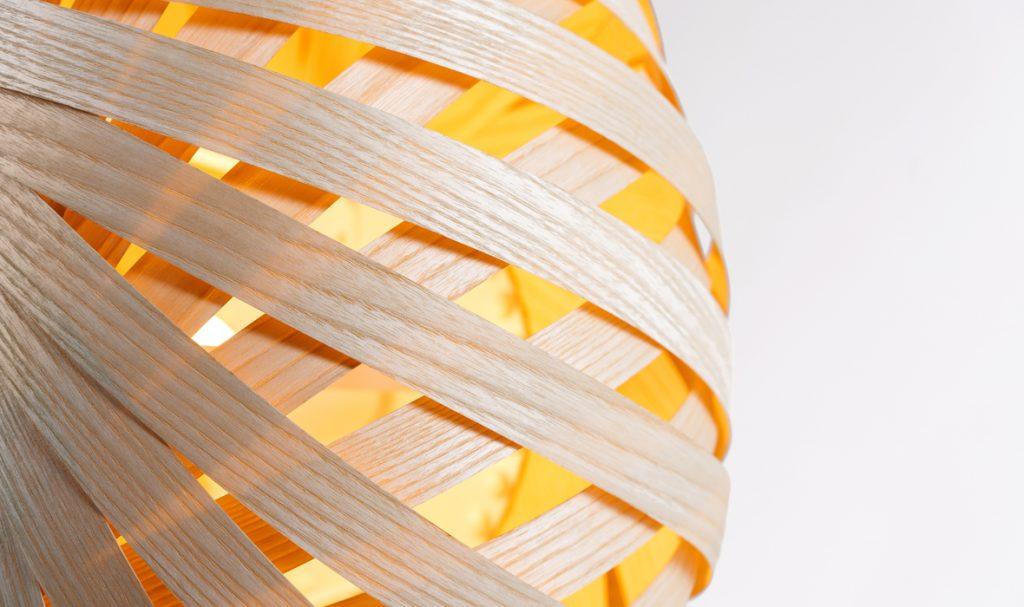 dreizehngrad handgefertigte Pendelleuchte Furnierleuchte Furnierlampe Designlampe Hotelbeleuchtung Restaurantbeleuchtung